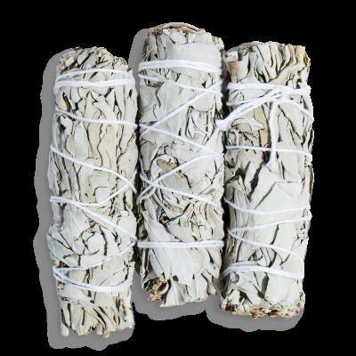 bouquet de sauge blanche et cristal de sélénite