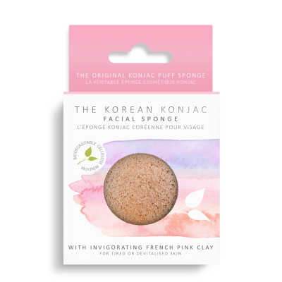 Konjac Sponge Puff With Added French Pink Clay